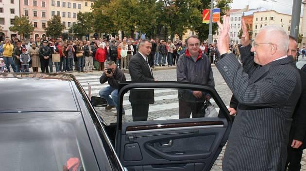 Prezident Václav Klaus se loučí s městem Jihlavou.