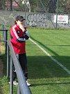 Starší dorostenci HFK Třebíč (v modrém) začali na půdě brněnské Sparty slibně, ale na vedoucí gól Benceho už nenavázali a naopak šestkrát inkasovali.