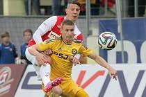 Jihlava nastoupila po dlouhé době se dvěma útočníky. Bosňana Harise Harbu doplnil v zápase proti Slavii jeho krajan Muris Mešanovič (ve žlutém), který měl lví podíl na vítězném gólu.