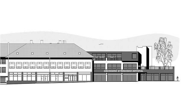 Přístavba obchodního centra. Takto vypadá návrh vzhledu budovy Krystalu od architekta Petra Holuba.
