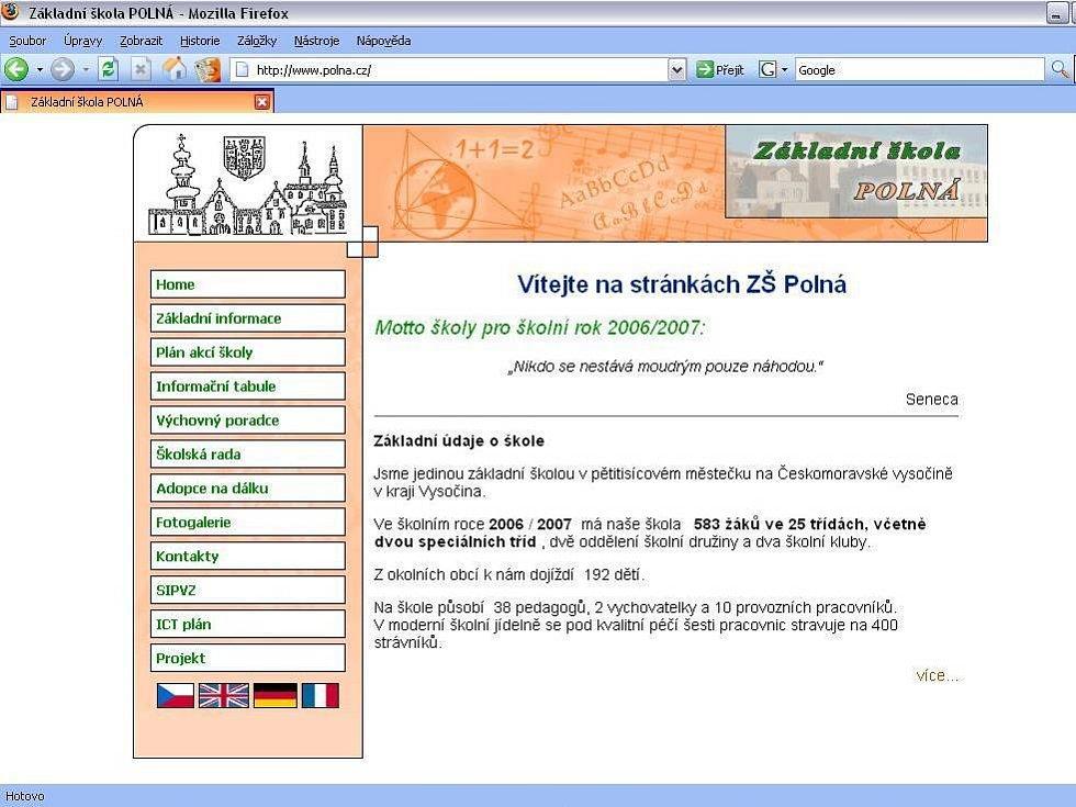 Webové stránky www.polna.cz neodkazují na obec, ale na školu.