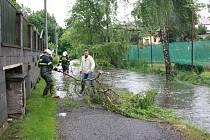 V Dobroníně se v úterý kvůli vydatným dešťům vylil Mlýnský potok.