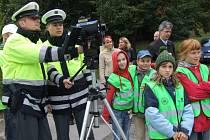 Dopravně-bezpečnostní akce v Havlíčkově ulici v Jihlavě.