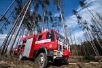 Požár lesa u obce Rybné na Jihlavsku.