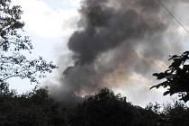 Požár na skládce u Vyskytné nad Jihlavou.