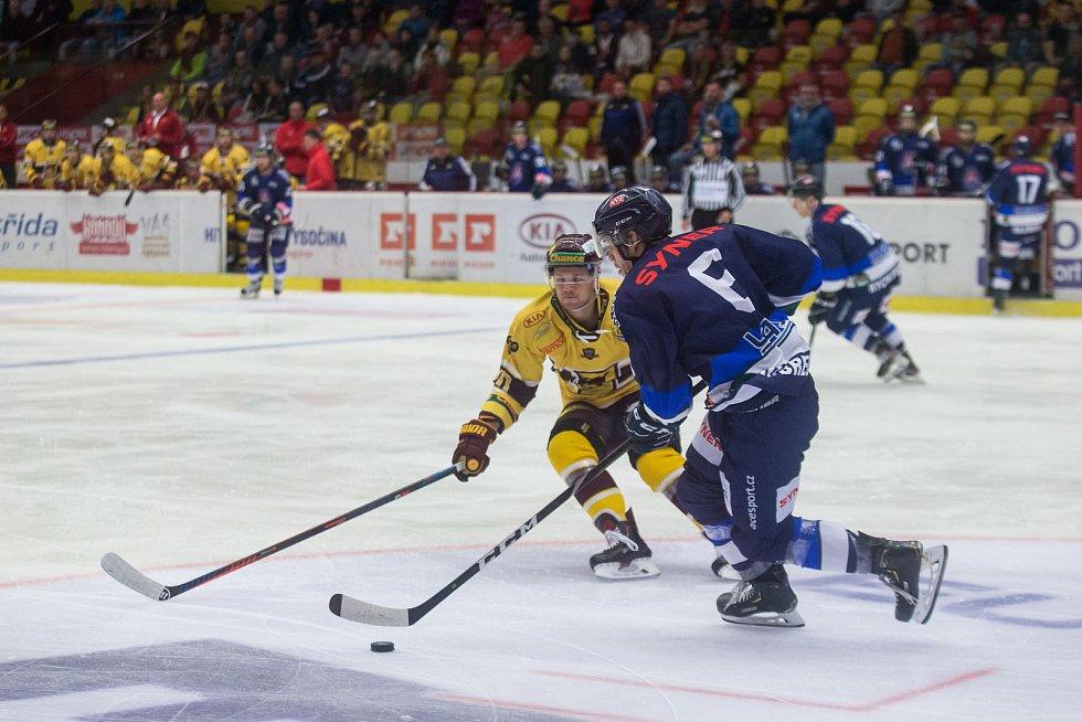 Třetí kolo hokejové Chance ligy mezi HC Dukla Jihlava a HC Benátky nad Jizerou.