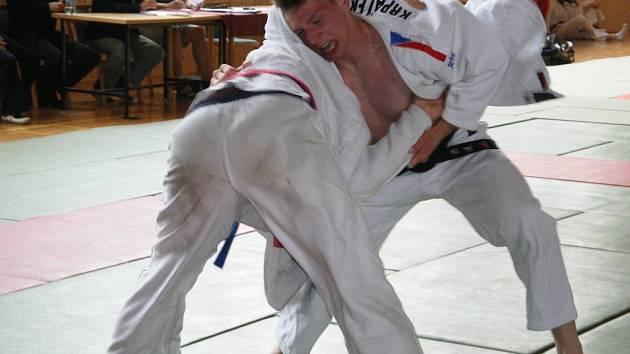 Michal Krpálek (vpravo) bojoval jako lev. Pokud chtěla Jihlava uspět, musel stejně jako jeho ostatní tři kolegové vyhrát. To se povedlo jen v duelu s Hradcem Králové.