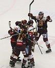 Zápas 9. kola baráže o hokejovou extraligu mezi týmy HC Dukla Jihlava a HC Verva Litvínov.
