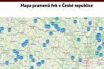 Mapa pramenů Českého hydrometeorologického ústavu.