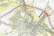 Součástí obsáhlého dokumentu na webu města Brtnice je i výkres plánovaného obchvatu.