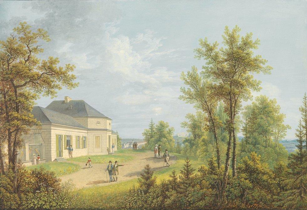 Historická pohlednice letohrádku Belvedere u Valtic na Břeclavsku.