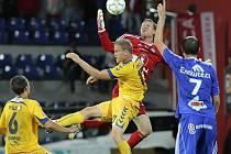 Jihlavští fotbalisté prožívají parádní podzim, na jejich stadion nyní míří po Plzni, Olomouci (snímek z tohoto utkání) a Spartě další špičkový tým. Tým Vysočiny však ani tentokráte nemůže nastoupit v kompletním složení.