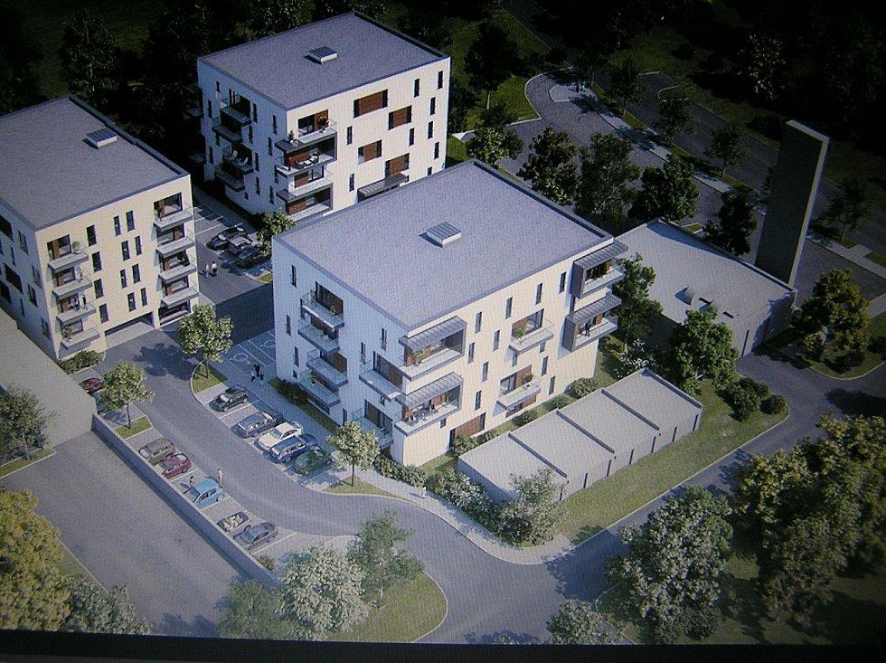 Nový parkovací dům má místo vedle sídlištní  kotelny. Směr vjezdu do domu je od Penny Marketu.