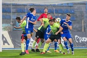 Momentka z podzimního utkání mezi FC Vysočina Jihlava a 1. SK Prostějov (1:2).