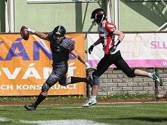Utkání amerického fotbalu mezi Vysočina Gladiators a Prague Mustangs.