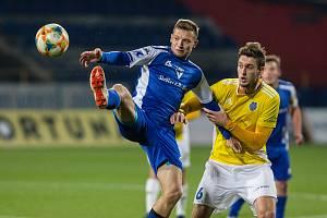 Fotbalové utkání 15. kola FNL mezi FC Vysočina Jihlava a FC Sellier & Bellot Vlašim.