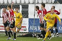 Už necelou minutu po obdržené brance dokázali fotbalisté FC Vysočina vyrovnat stav zápasu se Žižkovem na 1:1. Střelci se činili i nadále, k vidění bylo celkem šest branek.