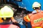 Srážka nákladního vlaku s lokomotivou dne 11. srpna 2020 v Jihlavě.
