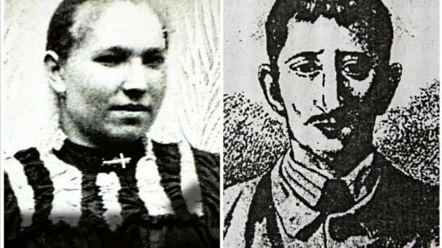 HILSNERIÁDA. Oběť a vrah? Vpravo na dobové ilustraci Hilsner, vlevo údajně Anežka Hrůzová. Později se ale ukázalo, že na fotografii je její příbuzná.