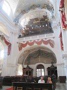 Barokní varhany v chrámu Nanebevzetí Panny Marie v Polné.