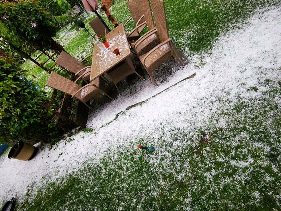 Toto nejsou snímky ze zimy, ale ze začátku srpna na jedné zahradě v Hybrálci. Kroupy ničily úrodu i květiny.