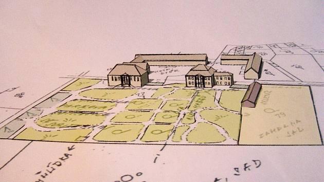 Kreslená skica zachycuje areál parku tak, jak vypadal v minulosti.