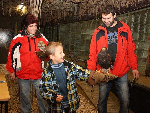 Odvaha nechyběla dětem, které se v sobotu odpoledne zúčastnily v jihlavské zoologické zahradě dne dravců a sov. Káně Harrisovo manželů Školoudových, kterému říkají Fanda, si s dětmi rozumí a je na ně zvyklé.