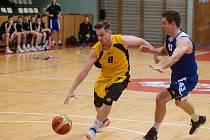 Basketbalové utkání 1. ligy mezi BC Vysočina a SA Komfort Brno.