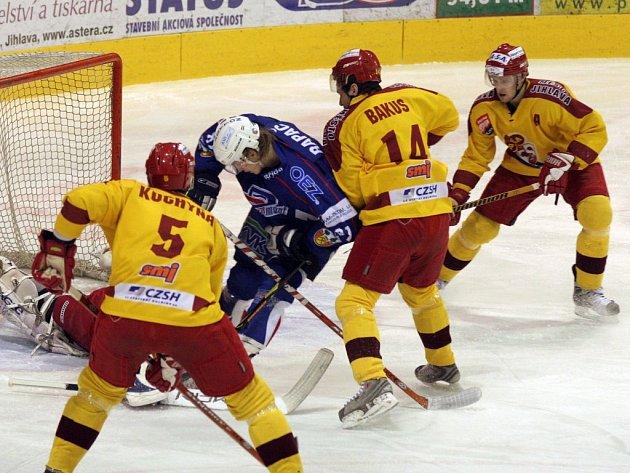 Ze zápasu Dukla Jihlava - HC Vrchlabí.