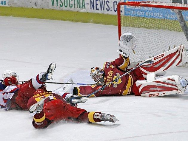 Souboje prvoligových týmů z Vysočiny zatím skvěle vycházejí hokejistům Havlíčkova Brodu. Dvakrát dokázali zdolat Jihlavu (na snímku) i Třebíč.