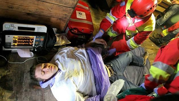 Cvičení zdravotnických záchranářů v Jihlavě 2015