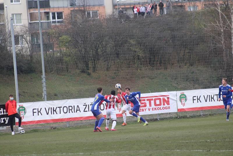 Podzimní utkání mezi Viktorií Žížkov a Vysočinou Jihlava (1:1).