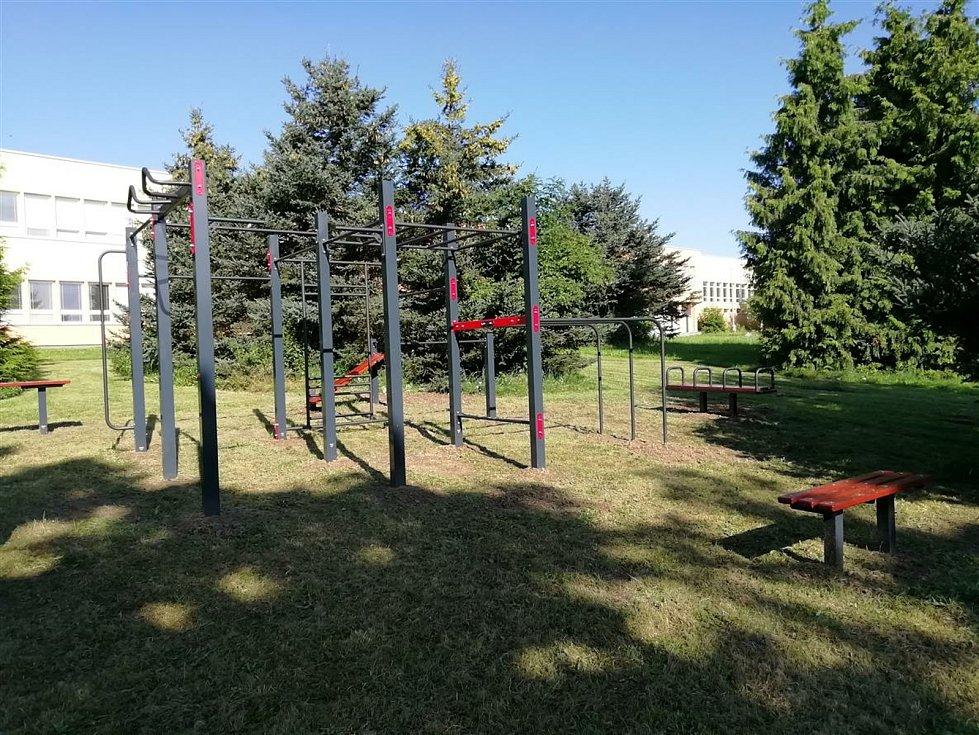 Workoutové hřiště ve Velkém Beranově před vylepšením.