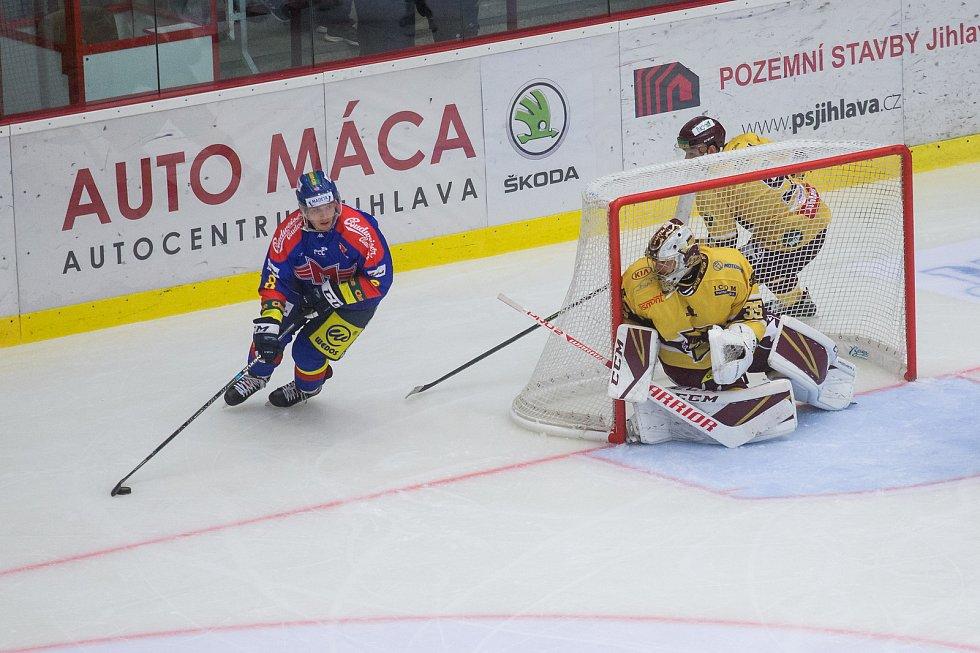 Šesté kolo hokejové Chance ligy mezi HC Dukla Jihlava a ČEZ Motor České Budějovice.