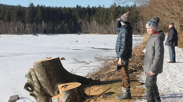 Velký Pařezitý rybník  v pátek 15. února 2019.