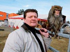 Jedním z protagonistů současného programu cirkusu Bernes je opička Chicko, kterou v pondělí představil principál Ludvík Berousek.