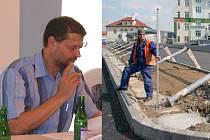 Bývalý starosta Havlíčkova Brodu Jaroslav Kruntorád (vlevo) je mezi obviněnými v korupční aféře kolem zakázky na stavbu autobusového terminálu (vpravo).