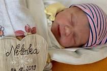 Nela byla  prvním miminkem, které se letos na Štědrý den narodilo v Nemocnici  Jihlava.