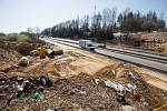 Rekonstrukce dálnice D1 u Humpolce dne 24. března 2020.