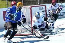 Hokejbalisté SK Jihlava (v bílém) vyhráli s Hodonínem 3:0 a 4:3, a ve finále mají mečbol!