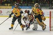 Zápas 3. kola baráže o hokejovou extraligu: HC Dukla Jihlava - HC Verva Litvínov, 1. dubna v Jihlavě.