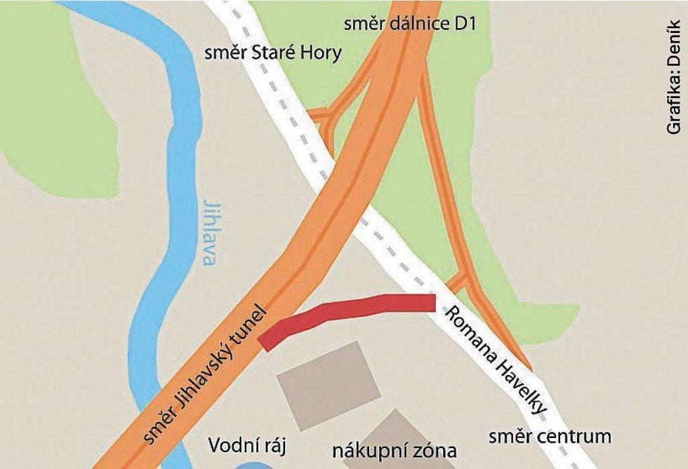 Mosty na dálničním přivaděči a nový sjezd do ulice Romana Havelky.