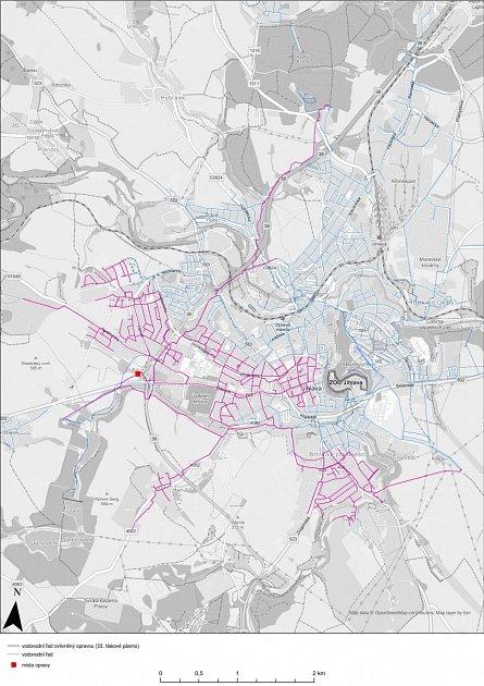 Mapa zasažených lokalit.