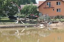 Jestřebí po povodních.