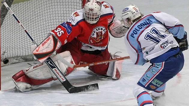 Úvodní trefu včerejšího prvoligového zápasu mezi domácím Havlíčkovým Brodem a Chomutovem obstaral útočník Petr Polodna, který si v úniku poradil s gólmanem Rebelů Jaroslavem Suchanem.