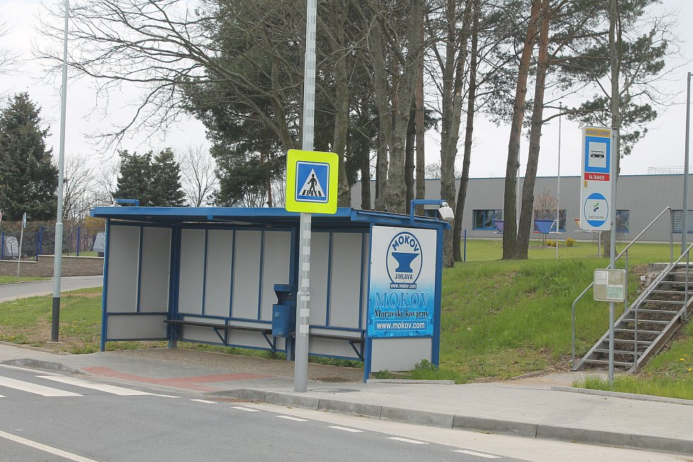 Zastávka Moravské kovárny  u stejnojmené firmy na kraji Jihlavy.