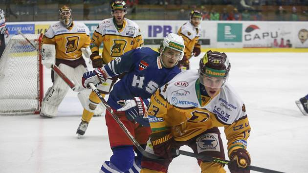 Utkání 23. kola hokejové Chance ligy mezi SK Horácká Slavia Třebíč a HC Dukla Jihlava.