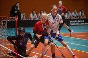 Florbalové utkání I. ligy juniorek mezi FBŠ Jihlava - Chodov.