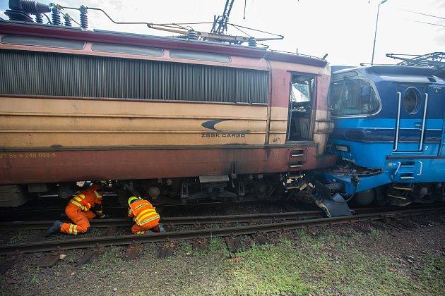 Srážka nákladního vlaku slokomotivou dne 11.srpna 2020vJihlavě.
