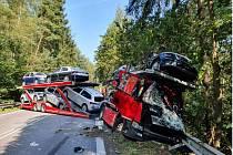 Smrtí řidiče skončila dnes dopravní nehoda čtyř vozidel u Rančířova na Jihlavsku.